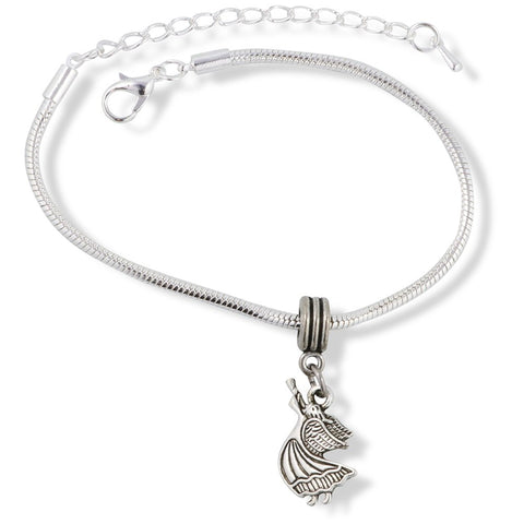 Angel with Horn Instrument Snake Chain Charm Bracelet