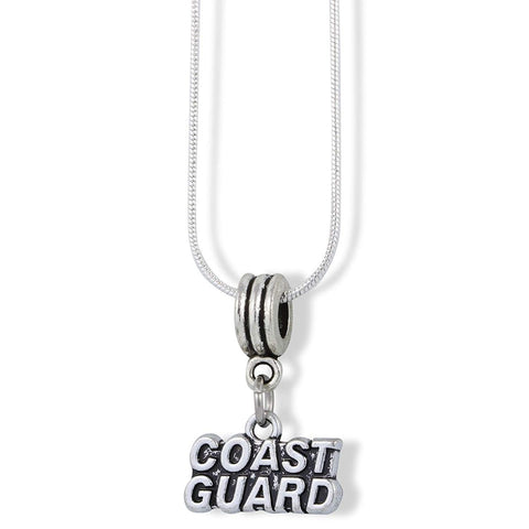 Coast Guard Text Charm Snake Chain Necklace