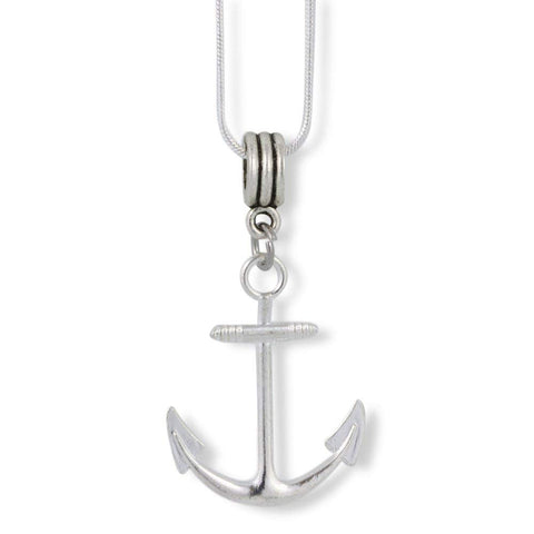 Large Boat Anchor Charm Snake Chain Necklace