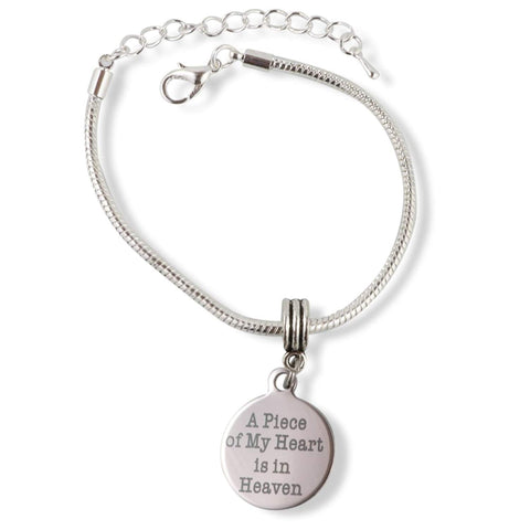 A Piece of my Heart is in Heaven Snake Chain Charm Bracelet