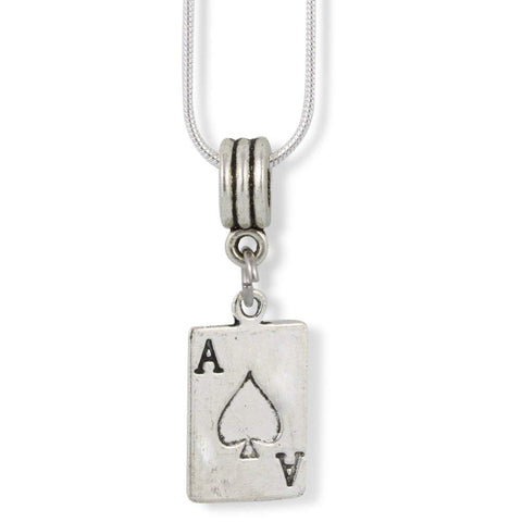 Ace Playing Poker Card Charm Snake Chain Necklace
