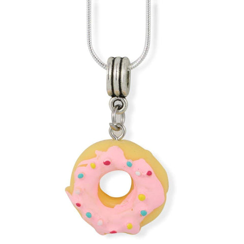 Donut ( Yellow Doughnut with Pink Icing and Sprinkles) Charm Snake Chain Necklace
