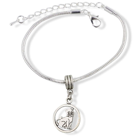 Smiling Cat in a Circle Snake Chain Charm Bracelet