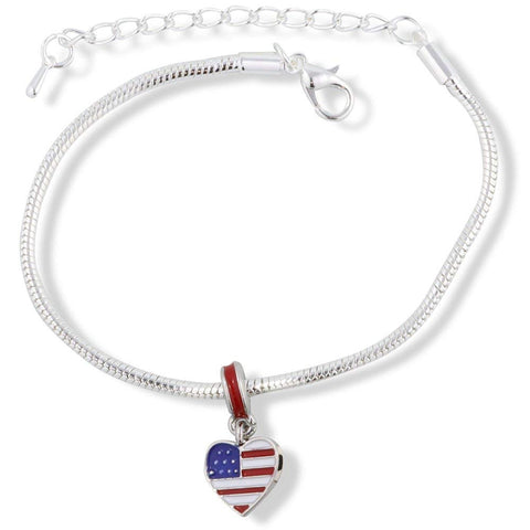 American Flag USA on a Heart Snake Chain Charm Bracelet