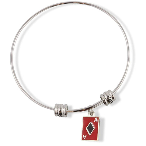 Ace Playing Card Red and Black Fancy Charm Bangle