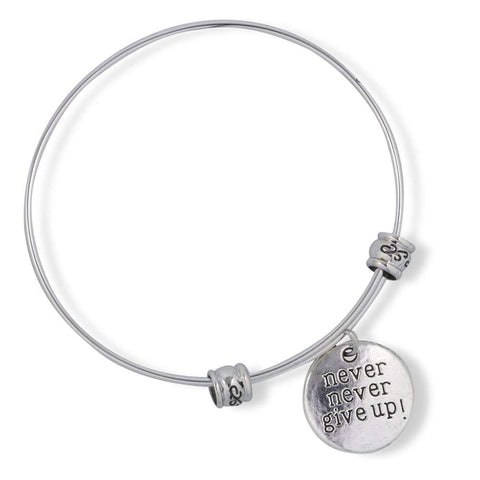 Emerald Park Jewelry Never Never Give Up Text Sayings Fancy Charm Bangle