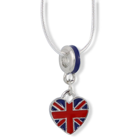 British Flag on Heart Charm Snake Chain Necklace
