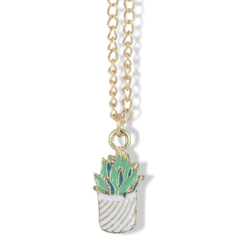 Emerald Park Jewelry Aloe Vera Cactus Two Tone Green in White with Curved Stripes Pot on Gold Chain Necklace