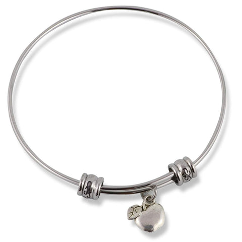 Apple with one Leaf Fancy Charm Bangle