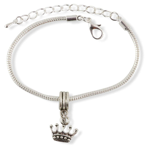 Crown with 5 Points Snake Chain Charm Bracelet