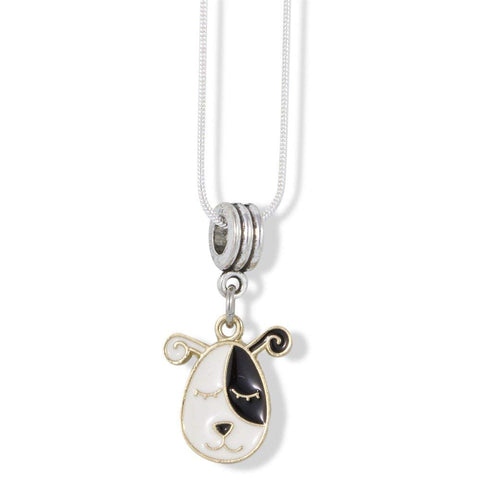 Dog Head Black and White with Twirley Ears Charm Snake Chain Necklace