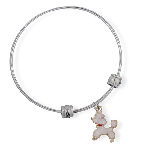 Emerald Park Jewelry White Poodle Dog Fancy Charm Bangle