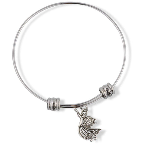 Angel with Horn Instrument Fancy Charm Bangle