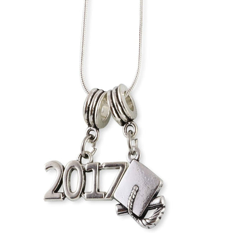 2017 and Graduation Cap Snake Chain Necklace