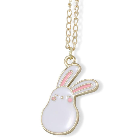 Bunny Rabbit Cartoonish White with Two Pink Ears on Gold Chain Necklace