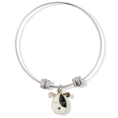 Dog Head Black and White with Twirley Ears Fancy Charm Bangle