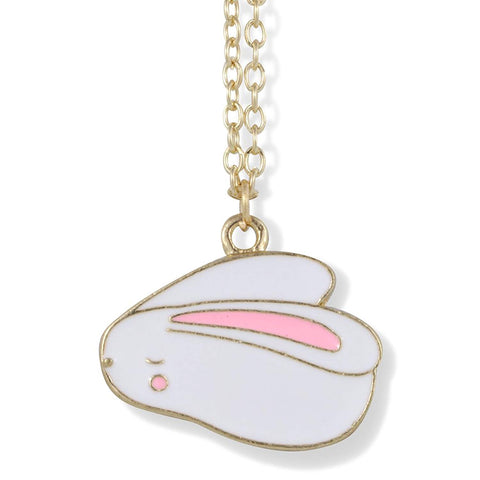 Bunny Rabbit Cartoonish White with One Pink Ear on Gold Necklace