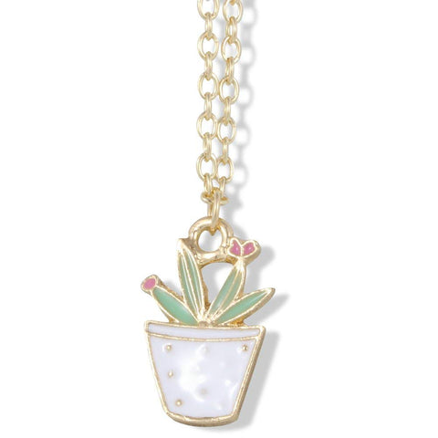 Aloe Vera Green with Three Red Flowers in White Pot on Gold Chain Necklace