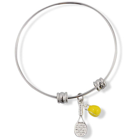 Emerald Park Jewelry Tennis Racket (Racquet) with Yellow Tennis Ball Fancy Charm Bangle