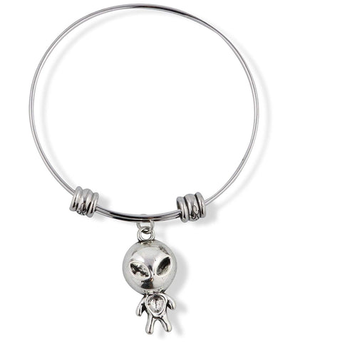 Alien with Big Head and Small Body Fancy Charm Bangle