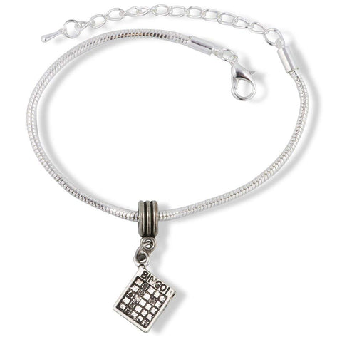Bingo Playing Card Snake Chain Charm Bracelet
