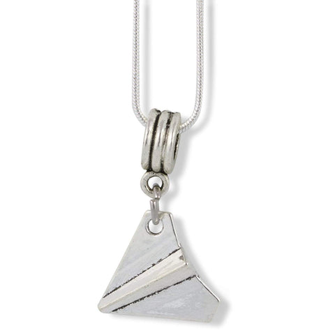 Paper Airplane Charm Snake Chain Necklace