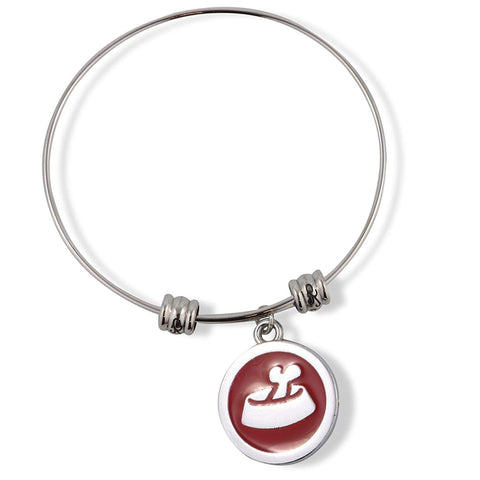 Dog Food Bowl Bone in Dish Red and Silver Fancy Charm Bangle