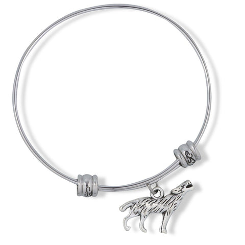 Large 3D Howling Wolf Fancy Charm Bangle