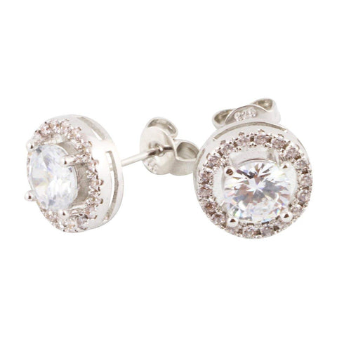 Cubic Zirconium AAA Halo Earrings