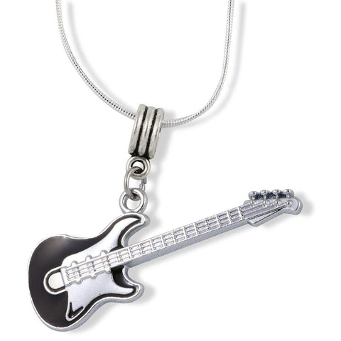 Black and Silver Guitar Charm Snake Chain Necklace Jewelry