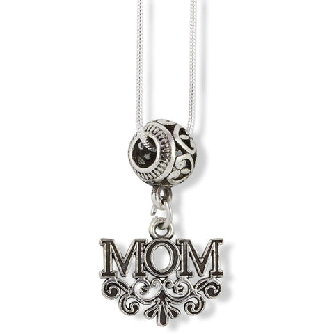 Mom with Scrolls and Scrolled Fitting Charm Snake Chain Necklace
