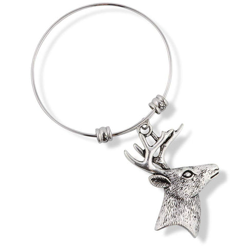 Deer Head with Antlers Fancy Charm Bangle