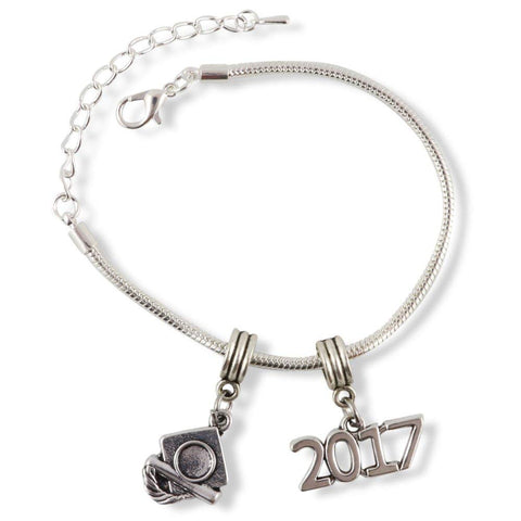 2017 and Cap Graduation Snake Chain Charm Bracelet