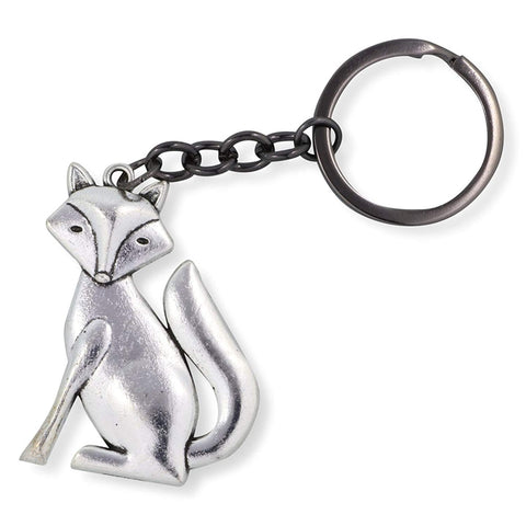 Emerald Park Jewelry Large Silver Coloured Fox Charm Keychain