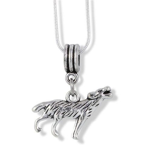 Emerald Park Jewelry Howling Wolf Large Charm Snake Chain Necklace