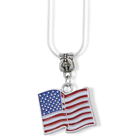 American Flag Large Charm Snake Chain Necklace