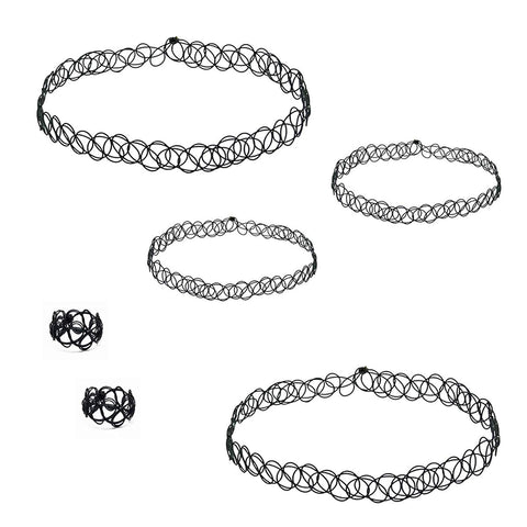 Emerald Park Jewelry Black Tattoo Choker Bracelets Ring Necklace Set of 2