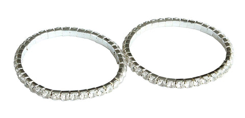 Emerald Park Jewelry Silver Color Rhinestone Inlaid Stretch Cuff Bracelet (Set of 2)