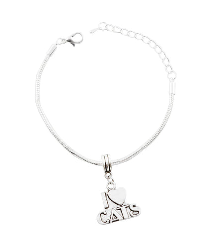Emerald Park Jewelry I Heart Cats Snake Chain Charm Bracelet