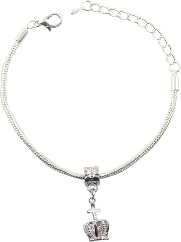 Crown with Jewel Snake Chain Charm Bracelet