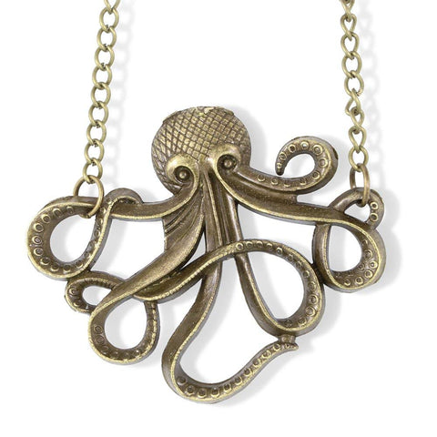 Emerald Park Jewelry Brass Coloured Octopus Charm Chain Necklace