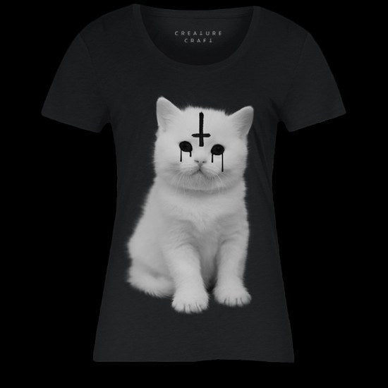 Lucipurr Satanic Cat T Shirt Womens - creature craft co