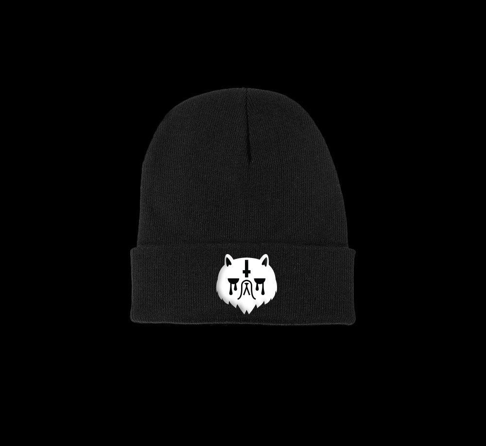 grumpy cat satanic beanie - creature craft co.