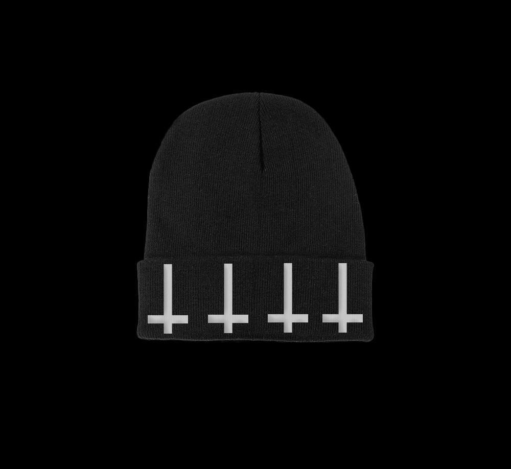 satanic cross beanie - creature craft co