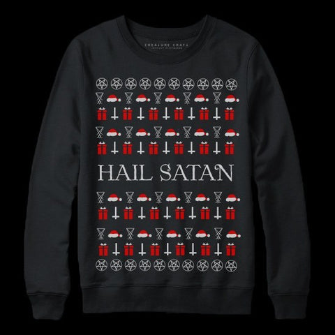 hail satan satanic christmas sweater - creature craft co