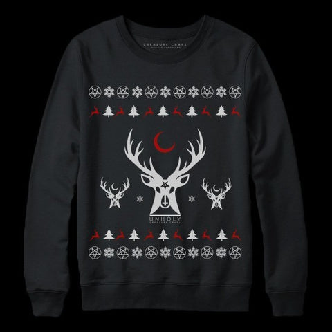 reindeer occult satanic christmas sweater - creature craft co