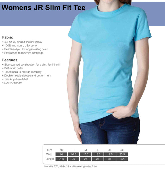 Womens Jr Slim Fit Tee Size Guide