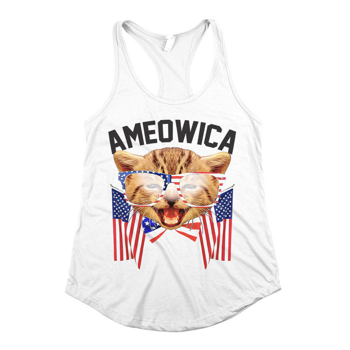 Ameowica Womens Racerback Tank Top White