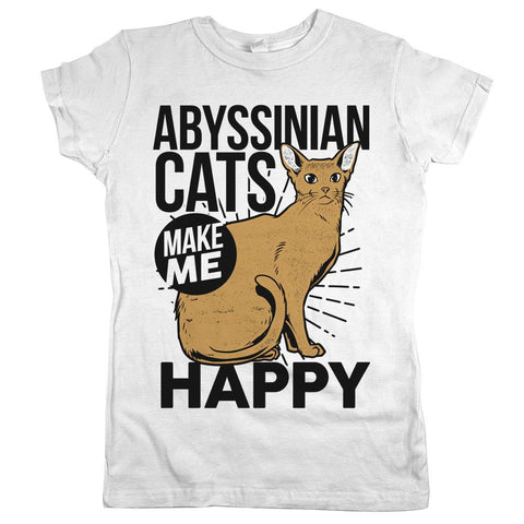 Abyssinian Cats Make Me Happy Womens JR Slim Fit Tee White