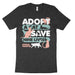 Adopt a cat save nine lives animal rescue t-shirt